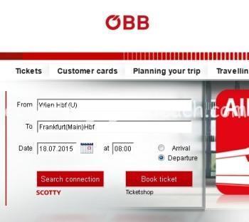 オーストリア鉄道のチケット検索