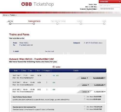 オーストリア鉄道のチケット検索結果例